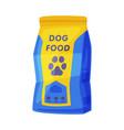 dog food packaging pet animal dry canned food bag vector image