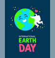 earth day poster astronaut hugging planet vector image