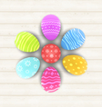 Easter set painted eggs on wooden texture vector image vector image