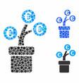 euro tree pot composition icon circle dots vector image vector image