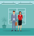 executive couple cartoon vector image vector image