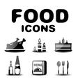 Food black glossy icon set vector image vector image