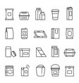 food packaging symbols line art icon set vector image vector image
