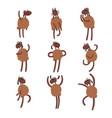 funny cartoon sheep character set brown sheep vector image