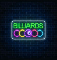 glowing neon signboard of bar with billiards on vector image