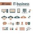 IT-bisiness and Digital Communication Icons vector image vector image