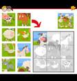 jigsaw puzzles with cartoon farm animals vector image vector image