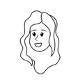 line happy cute woman face with hairstyle vector image vector image