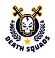 logo death squad human skull and cross swords vector image vector image