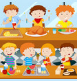 many kids eating in the canteen vector image vector image