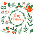 merry christmas winter plants set collection vector image vector image