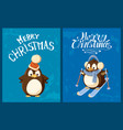 penguin in santa hat and earmuffs on skis card vector image vector image