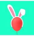 rabbit ears mask on red baloon vector image vector image