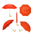 red folded opened umbrellas vector image