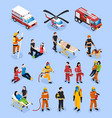 rescue teams isometric set vector image vector image