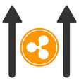 ripple coin send arrows flat icon vector image vector image