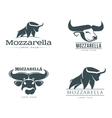 set of logos with buffalo mozzarella cheese vector image vector image