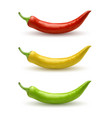set of red yellow and green hot chili peppers vector image vector image