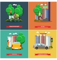 set of street traffic concept posters vector image vector image