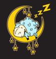 sheep sleeping on moon vector image vector image