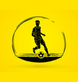 soccer player running with soccer ball action vector image vector image