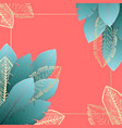 square frame with blue and golden tropical leaves vector image