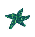 starfish nautical color silhouette animal vector image