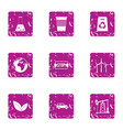stop pollution icons set grunge style vector image vector image