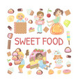sweet food banner template with cute kids eating vector image