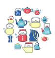 teapot icons set cartoon style vector image