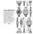 template with wristwatches vector image vector image