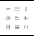 travel and tourism linear outline icons set vector image vector image