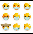 virus protection medical mask emoticon smiley vector image vector image