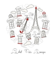 White Background with music and Tour Eiffel vector image vector image