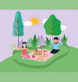 young people picnic in park vector image vector image