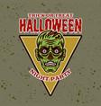 zombie head colored halloween emblem badge vector image vector image