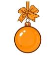 Gold Christmas balls with ribbon and bows vector image