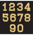 set of stylized gold texture numbers with metallic vector image