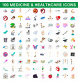 100 medicine and healthcare icons set vector image vector image