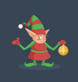 a little santa assistant is standing with a vector image