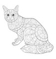 adult coloring bookpage a cute cat with ornaments vector image