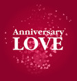 anniversary love floating heart red background vec vector image