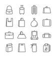 bag line icon set vector image vector image