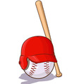 Baseballs Ball with Helmet and Bat vector image