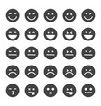 black emoticons icon set vector image vector image