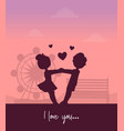 boy and girl holding hands on background of vector image