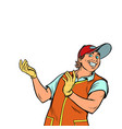 cartoon character pizza delivery guy vector image