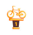 cartoon golden trophy with bicycle on brown base vector image