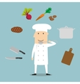 Chef profession utensil and vegetables vector image