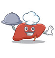 chef with food liver mascot cartoon style vector image